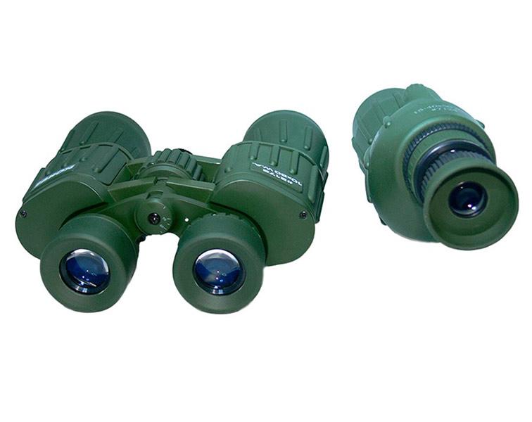 Сравнение габаритов зрительной трубы и бинокля, вид со стороны окуляров