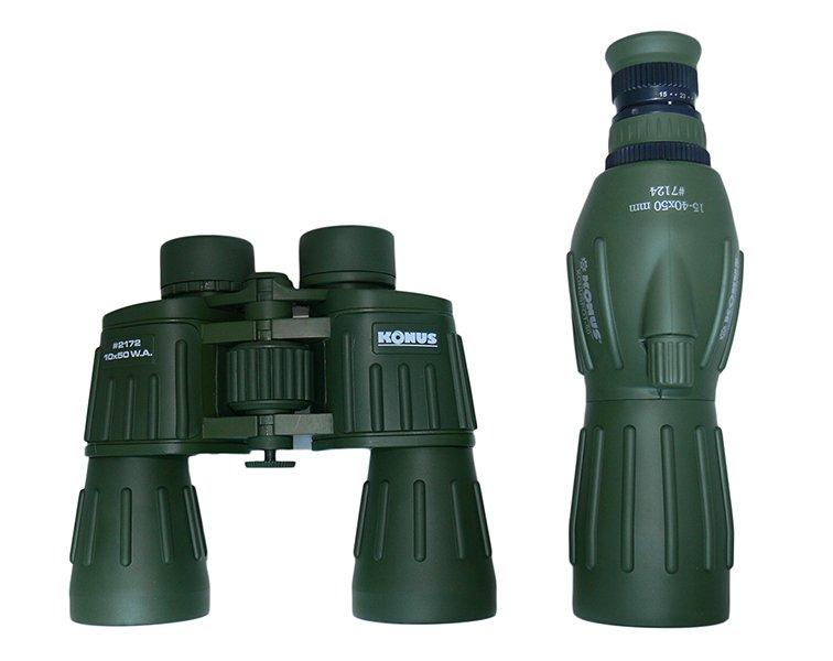 Подзорная труба и бинокль с равным диаметром объективов - 50 мм: сравнение размеров