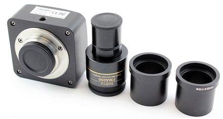 Комплектация цифрового окуляра для микроскопа: камера, гомал и переходники с 23.2 на 30 и 30.5 мм