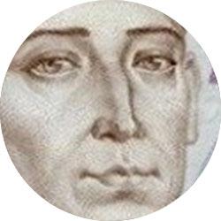 Поле зрения лупы: портрет на купюре, увеличение 12x