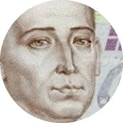 Поле зрения лупы: портрет на купюре, увеличение 9x