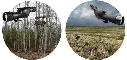 Охотничьи подзорные трубы: наклонные для наблюдений на ровной местности, прямые для охоты с засидок или с лабаза