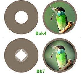 Сравнение изображений, построенных зрительными трубами с призмами из кронов Bak-4 и Bk7