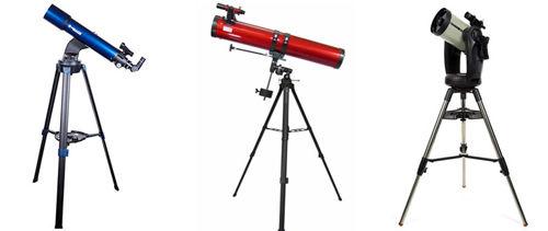 Телескопы различных оптических систем: рефлекторный, рефракторный, катадиоптрический