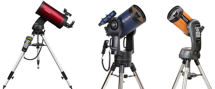Телескоп Максутова-Кассегрена (Orion), Патентованная модификация Ричи-Кретьена от Meade, Шмидт-Кассегрен от Celestron (слева направо)