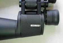 Металлический шильдик Konus на левом призменном блоке бинокля Konus Giant 15х70