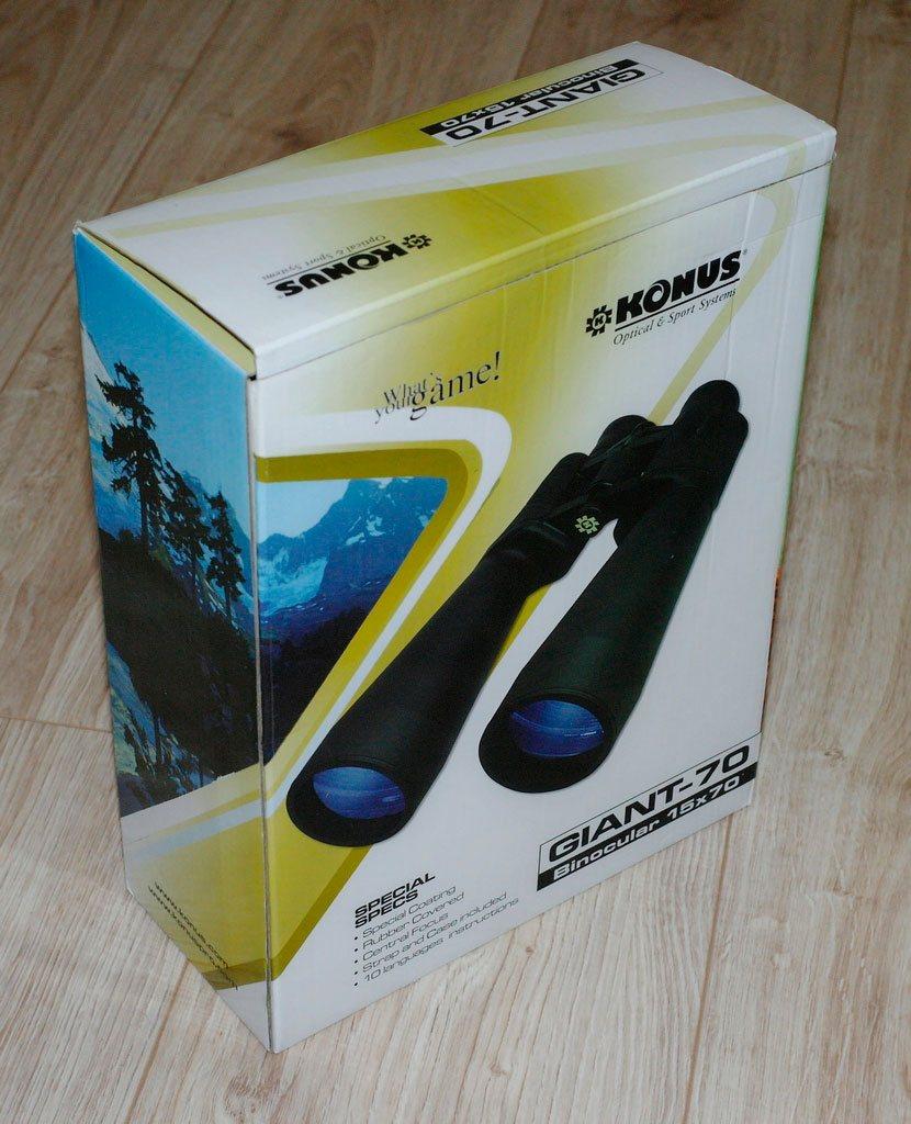 Упаковка бинокля Konus Giant 15х70 с изображением горного пейзажа