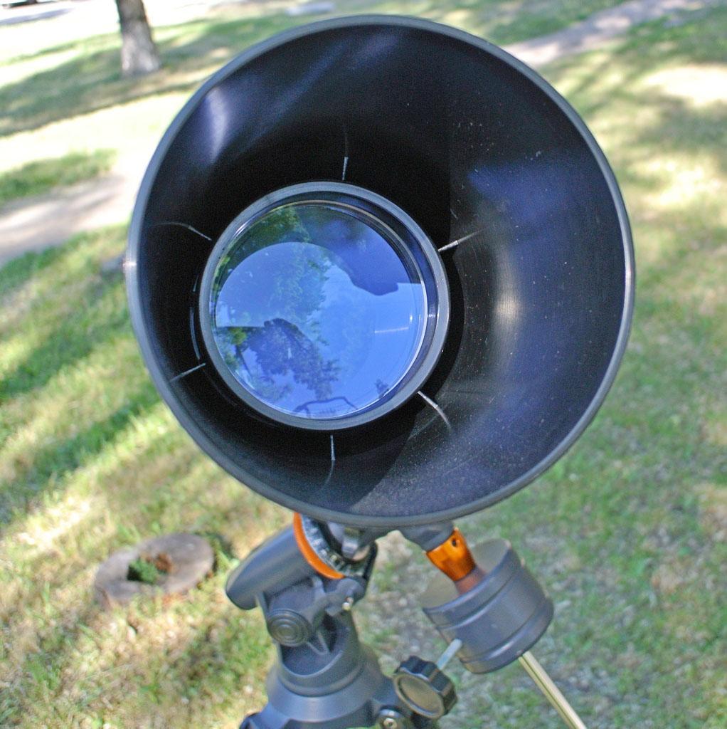 Объектив телескопа с просветляющим покрытием и пластиковой блендой