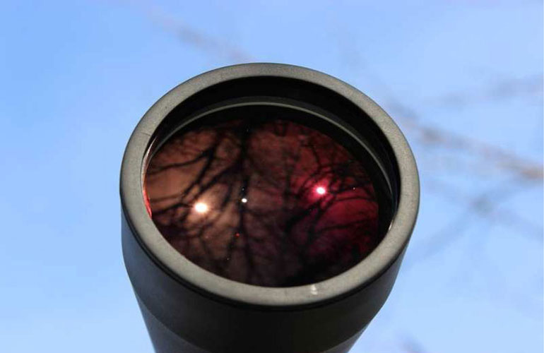 Просветление FMC на объективе бинокля Arsenal 15х70 Porro