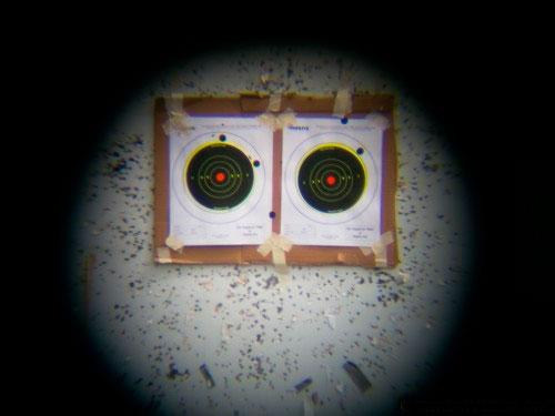 Стрельба с подзорной трубой Konuspot-80: увеличенное фото мишени