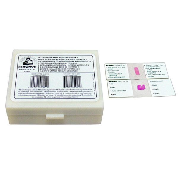купить Набор микропрепаратов KONUS Здоровые ткани человеческого тела, серия II (10шт)