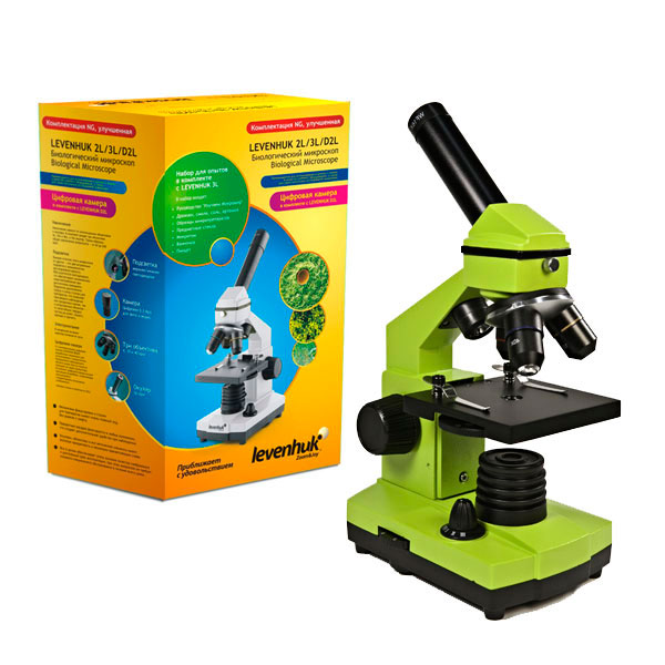 купить Микроскоп LEVENHUK Rainbow 2L NG Lime (лайм) (64-640x)